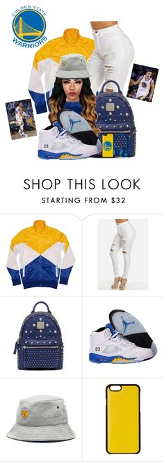 """GOWARRIORS"" by ballislife ❤ liked on Polyvore featuring MCM, NIKE, Mitchell & Ness, Knomo, Beats by Dr. Dre, Under Armour and gosplashbrothers"