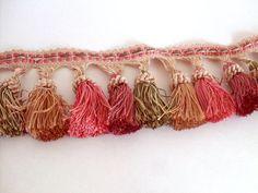 Pink tassel fringe trim upholstery trim cream by AngelasArtistic, $117.00
