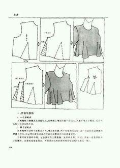 Chinese method of pattern making- Darts on a bodice - SSvetLanaV - Picasa Web Albümleri Dress Design Patterns, Easy Sewing Patterns, Blouse Patterns, Clothing Patterns, Pattern Design, Pattern Cutting, Pattern Making, Sewing Blouses, Modelista