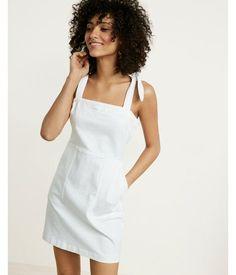 White Denim Mini Dress White Women's XX Small