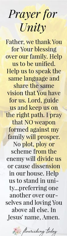 Do you pray specific prayers for your family? Praying for strength and unity between your children can help your family to flourish like never before! Here are 5 prayers to help your family to grow and flourish. Prayer Scriptures, Bible Prayers, Faith Prayer, Prayer Quotes, Bible Quotes, Bible Verses, Faith Quotes, Spiritual Prayers, Marriage Prayer