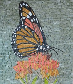 This mosaic features a butterfly outlined in black drinking nectar from a flower against a gray backdrop. Adding a spring vibe to your space, this mosaic is handmade from marble cut into small different shapes to result in this simply beautiful design. Mosaic Designs, Mosaic Patterns, Pattern Art, Butterfly Mosaic, Butterfly Outline, Mosaic Artwork, Mosaic Wall Art, Mosaic Art Projects, Mosaic Ideas