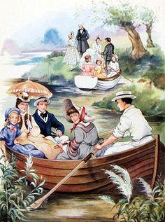 Laurie e Jo remaram um barco. Mulherzinhas. Louisa May Alcott. Ilustração de Rene Cloke.