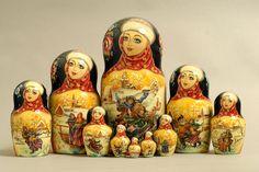 """10 Piece """"Vyatskaya Matryoshka"""" number 63385"""