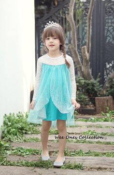 5eccbb0e80df6 Frozen Elsa shimmer dress with lace sleeves. Kids fashion. Visit  www.facebook. かわいいドレス ...