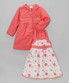 Another great find on #zulily! Coral Polka Dot Halter Dress & Jacket - Infant, Toddler & Girls by Longstreet #zulilyfinds