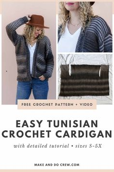 This easy Tunisian crochet cardigan is a magical, reversible pattern that will soon become your go-to sweater. Crochet Jumper Pattern, Gilet Crochet, Crochet Cardigan Pattern, Knit Crochet, Crochet Tops, Lace Knitting, Free Crochet, Easy Beginner Crochet Patterns, Tunisian Crochet Patterns