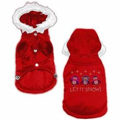 Enjoy the winter and keep your buddy bundled up this winter with Let it Snow Penguins Rhinestone Dog Hooded Dog Coat. Snap closure along belly. Hood is detachable by snaps. Made of poly/cotton. Great for holiday parties and photos! Your dog will shimmer and shine! Made in the U.S.A.  * Number of penguins vary by size