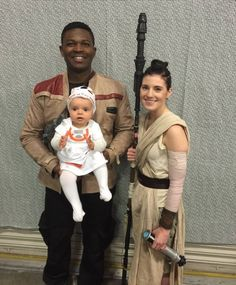 """""""The Real Finn and Rey of Utah"""" have just sent me this fun picture taken at Salt Lake City Comic Con featuring them dressed as Finn and Rey and their adorable daughter as BB-8 Baby-8."""