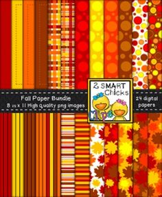 Beautify your products with our fall background paper bundle! 24 colourful, as well as, vibrant PNG file backgrounds are included in this set! Once purchased, backgrounds can be used for personal or commercial purposes. Kindly remember to include a link back to our TPT store: http://www.teacherspayteachers.com/Store/2-Smart-Chicks Happy creating!To preview the quality of our work, you can download our Background Paper and Borders  Fuzzy Dots Bundle FREEBIE!Thank you for purchasing our…