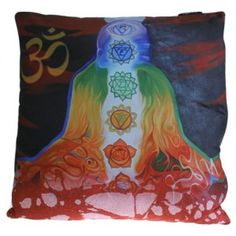 Chakra Buddha Meditation - Art Cushion cover - hese cushion covers are arty yet nostalgic whilst being cutting edge fashion, inspired by famous artists or special events. They have a plush fabric back (very cosy) and each cushion has a nice little zip. Standard size 40x40cm Sold without inner.