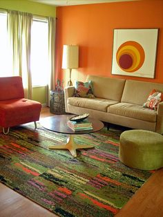 17 Best Ideas For Living Room Brown Furniture Decor Grey Walls Living Room Decor Orange, Retro Living Rooms, Living Room Green, Living Room Paint, Living Room Colors, Rugs In Living Room, Living Room Designs, Sofa Design, Interior Design