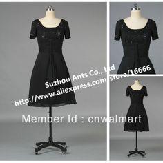 E1042 Short Sleeve Bead Cocktail Dress Black US $119.82