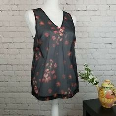 3424b86587cec A NEW DAY NWT Black   Red Sheer Floral Tank Top Womens S Small Sleeveless -