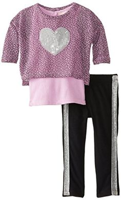 Little Lass Baby Girls 2 Piece Heart Print Legging Set Lilac 24 Months >>> Want additional info? Click on the image.