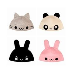 the gray kitty and the pink bunny! Neko Kawaii, Kawaii Cute, Cute Beanies, Cute Hats, Kawaii Fashion, Cute Fashion, Tsumtsum, Kawaii Accessories, Animal Hats