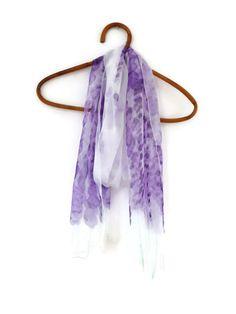 Lavender flower silk chiffon scarf