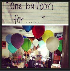 """I filled my boyfriends room with balloons and little notes sticking to the string. When he got home he saw the first note on the ground """"One balloon for..."""" All of the notes started with """"every"""" or """"every time you"""" etc. He loved it!"""