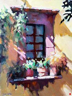Courtyard Window by Trisha Adams Oil ~ 16 x 12 Landscape Art, Landscape Paintings, Landscapes, Selling Paintings, Guache, Impressionist Art, Pretty Art, Oeuvre D'art, Painting Inspiration