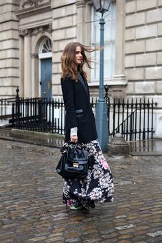 Welcome to windy London on http://thelocals.dk--long black floral dress with tuxedo jacket