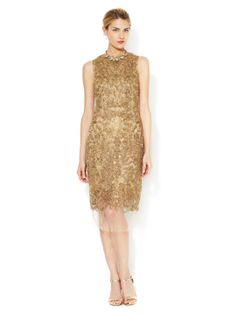 Soutache Embroidered Sheath Dress by Vera Wang at Gilt