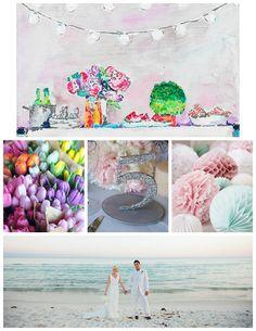 Pastel Wedding Inspiration #tulips #beach #poms