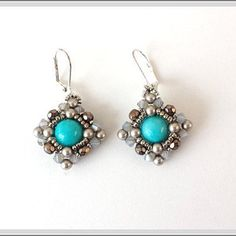 Natural Amazonite, Swarovski beads, Dreaming of Diamonds Earrings. Free shipping in the US.