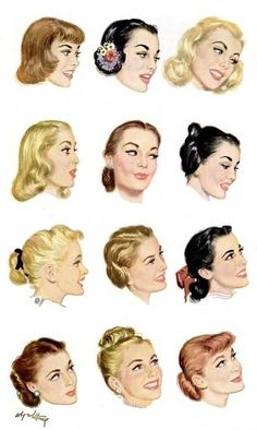 1950s Hairstyle illustrations