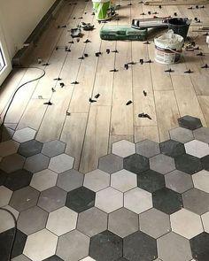 Realization Hexagonal Tiles in Lorient - An Oriant Soils Tile To Wood Transition, Transition Flooring, Hexagon Tiles, Kitchen Flooring, Granite Flooring, Floor Design, Home Renovation, Home Deco, Home Interior Design