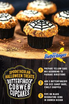 Looking for a terrifyingly tantalizing treat to serve your guests this Halloween? These spooktacular Cobweb Cupcakes make the perfect quick and easy-to-prepare treat for your little ghouls! Boasting a delicious kick of crunchy Butterfinger crumbles, they're guaranteed to be a sure-fire spooky Halloween favorite.