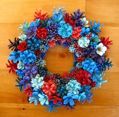 Handmade Natural Earthy Blue and Red Pine Cone Wreath by EacArt