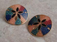 3 PAIR Summer Earrings Pierced Big Blossom Sand Dollar CIJ Multi Colored