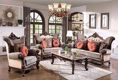 Vivian Sofa, Loveseat & Chair – Katy Furniture Loveseat Sofa, Sofa Set, Seat Cushions, Pillows, Wood Trim, Living Room Sets, Love Seat, Chair