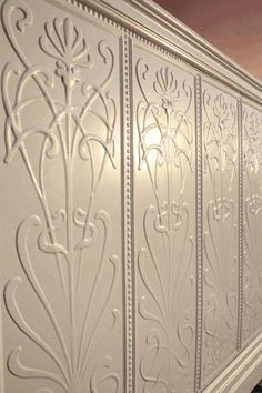Art nouveau design stamped tin panels for the wall Metal Wall Panel, Metal Panels, Large Collage Picture Frames, Anaglypta Wallpaper, Embossed Wallpaper, Tree Wall Art, Tree Art, Reno, Victorian Homes