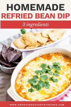 3-ingredient cheesy bean dip is a tasty and easy appetizer ready in less than 30 minutes and fit to feed a crowd! This homemade refried bean dip is cheesy goodness with ton of flavor and perfect for Cinco de Mayo. Refried Bean Dip, Homemade Refried Beans, Dip Recipes, Snack Recipes, Snacks, Appetizer Dips, Yummy Appetizers, Bean Salsa, Feeding A Crowd