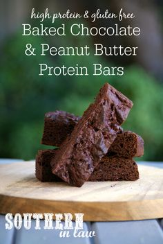 Healthy Baked Chocolate and Peanut Butter Protein Bars Recipe - low fat, gluten free, high protein, clean eating friendly, sugar free
