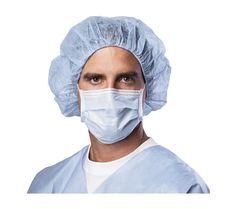 Medline Standard Procedure Face Mask, Cellulose, Blue, 50/Box