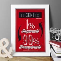 """Làmina amb frase inspiradora de Thomas Edison """"El geni es 1% inspiració i 99% transpiració"""""""