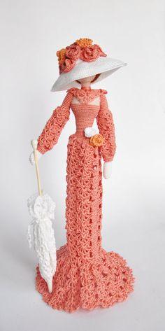 Cloth doll Rag doll Amigurumi Crocheted doll Art doll  Lady