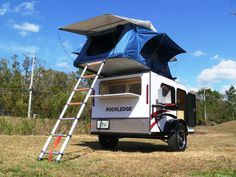Rockledge model teardrop camper with the optional roof top tent.  This neat little camper now sleeps a family of 4.  The tent can be installed on any of our models.***Research for possible future project.
