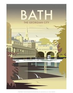 Bath - Dave Thompson Contemporary Travel Print Art Print by Dave Thompson at Art.com
