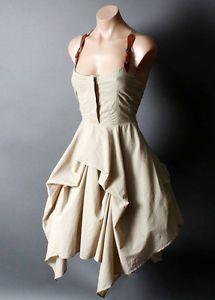 Steampunk-Victorian-Desert-Safari-Suspender-Belt-Strap-Bustle-Dress-S-M-L-XL
