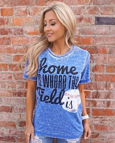 Colors: Blue (picture shown), Red and Grey ONLY Cheer on your favorite baseball player and team in style this season. Heavenly soft and lightweight, you won't w Blue Pictures, Red And Grey, T Shirts For Women, Baseball, Monograms, Tees, Diamonds, Medium, Home