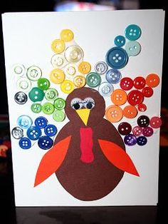 Turkey button craft - paper scraps, layout buttons in rainbow scheme (http://acoupleofcraftaddicts.blogspot.com)