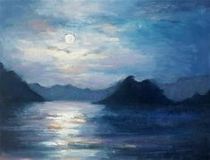 """Daily Paintworks - """"MOONLIT"""" - Original Fine Art for Sale - © Ronel Alberts"""