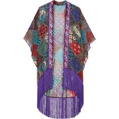 Anna Sui Bird of Paradise fringed printed silk-chiffon kimono (15.520 RUB) ❤ liked on Polyvore featuring intimates, robes, anna sui, kimono, purple, sheer robe, print kimono, kimono robe, sheer fringed kimono and anna sui kimono