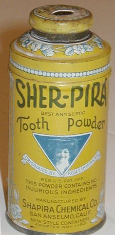 """Tooth Powder vintage advertising tin can. Label says it contains """"No Injurious"""" ingredients ....Gee that's a relief"""