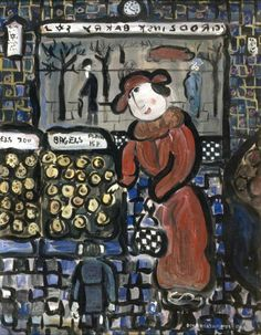 dora holzhandler(1928- ), a mother buying bagels, 1993. oil on board, 46 x 31 cm. museum of london, uk http://www.bbc.co.uk/arts/yourpaintings/paintings/a-mother-buying-bagels-50734