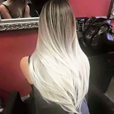 Amazing Brown to White Blonde Ombre