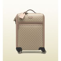 Gucci GG supreme canvas four wheel carry-on suitcase (2,740 CAD) ❤ liked on Polyvore featuring bags, luggage, suitcases, lifestyle bags & luggage and suitcases & trolleys